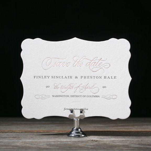 Bella Figura, Townsend, save the date, rose gold classic font with diecut