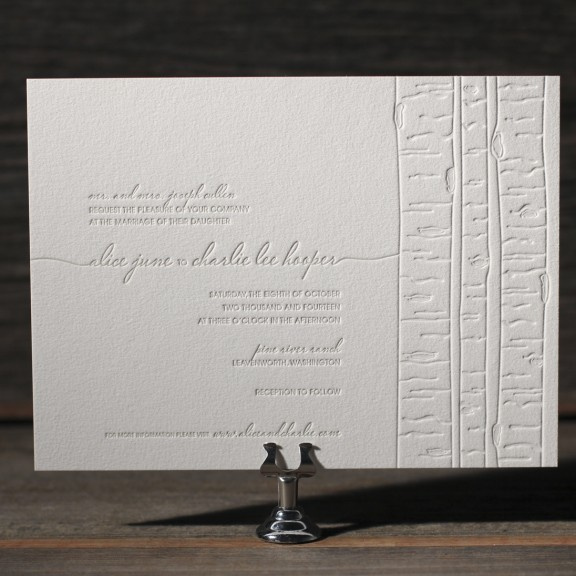 Birch by Bella Figura, blind deboss birch tree wedding invitation