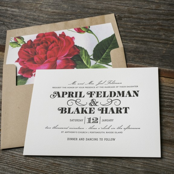 Boutonniere by Bella Figura, modern typography invitation with kraft envelope and floral liner