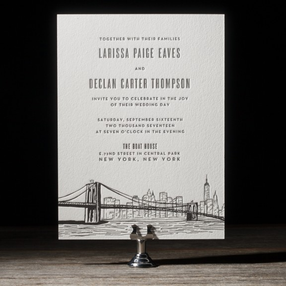 Bright Lights by Bella Figura, skyline wedding invitation, brooklyn