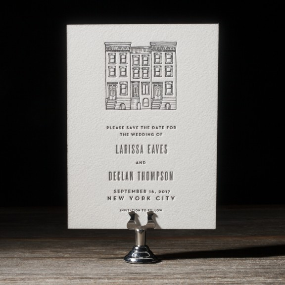 Bright Lights by Bella Figura, letterpress save the date, modern typesetting, brownstone illustration