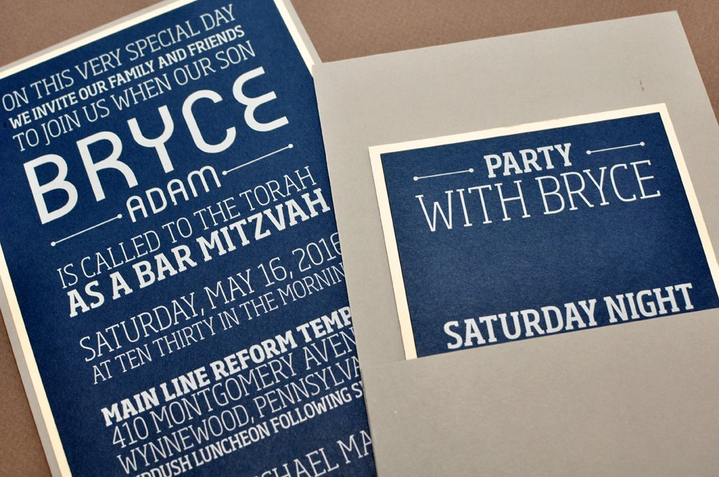 Bryce by B.T.Elements, Mitzvah Invitation, Pocket card style, Modern typesetting, Navy white and gray color palette