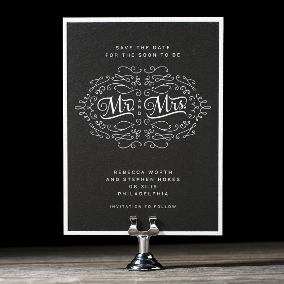 Chalkboard by Bella Figura, chalkboard style letterpress save the date, Mr. and Mrs. in hand drawn style font, modern fonts and artwork