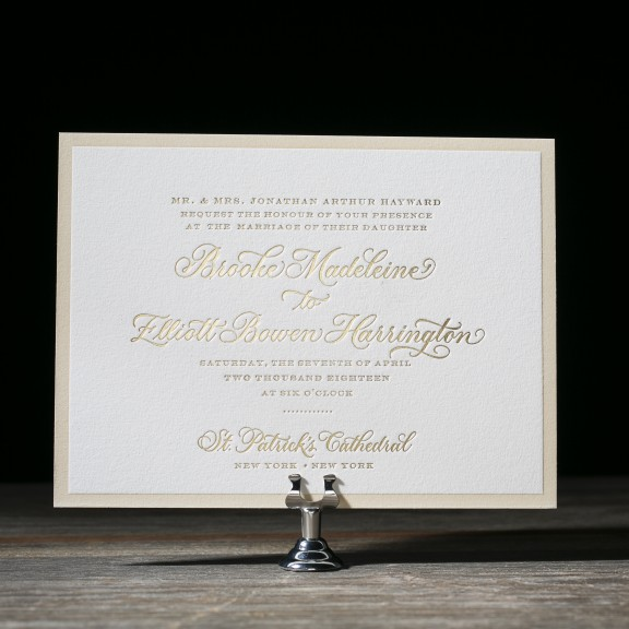 Chatsworth by Bella Figura, traditional invitation with floral liner