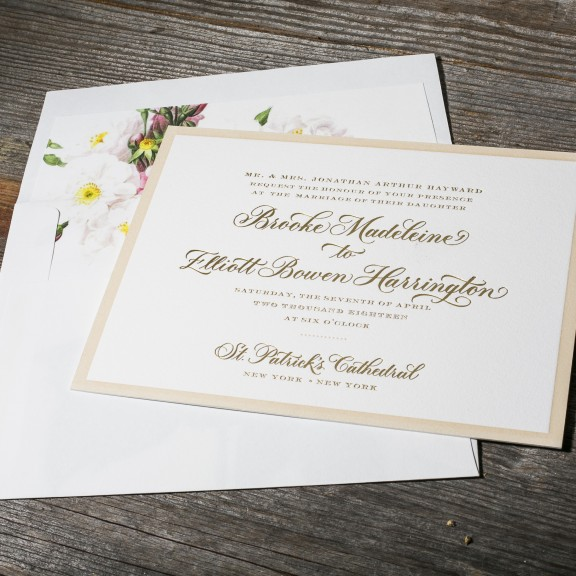 Chatsworth by Bella Figura, traditional invitation with vintage floral envelope liner, gold and sand color palette, foil and letterpress printing with letterpress border