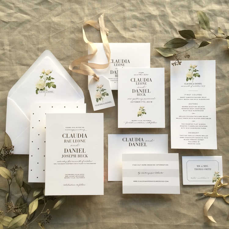 Claudia by BTElements, classic invitation with sophisticated white rose detail