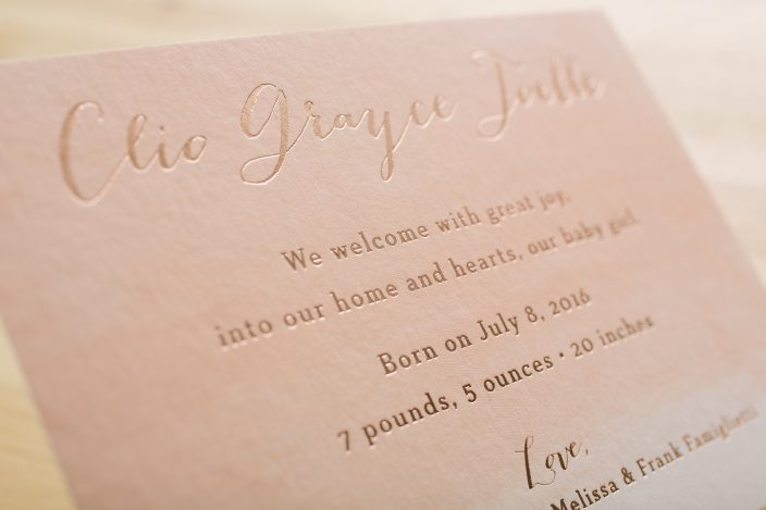 Clio Baby Announcement by Smock, Watercolor card with foil stamping and brush stroke envelope liner