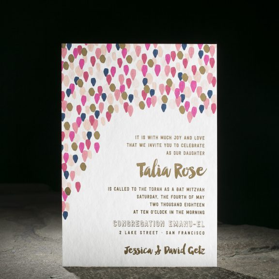 Confetti by Smock, Festive digital and foil mitzvah invitation