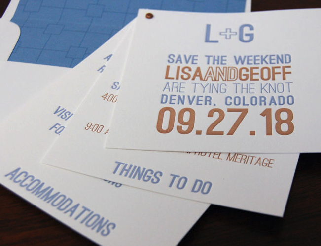 DFP, save the date, grommet booklet