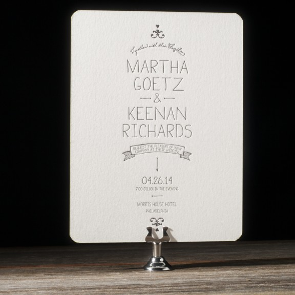 Dash by Bella Figura, whimsical typography wedding invitation