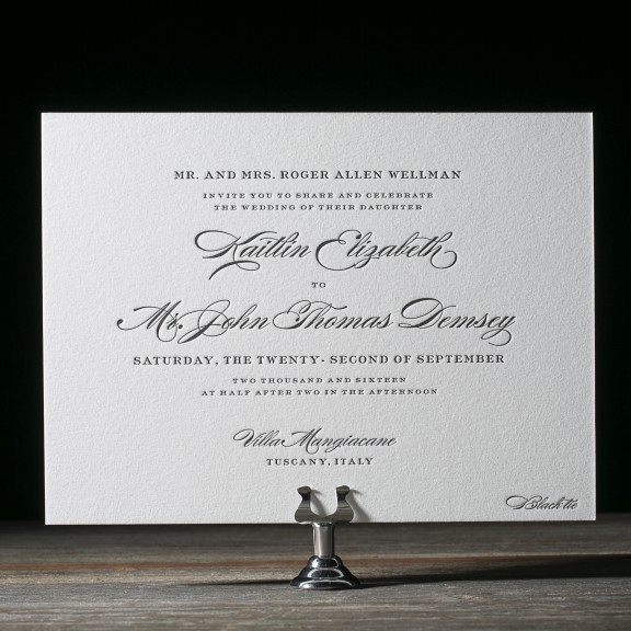 Deveril by Bella Figura, classic wedding invitaiton