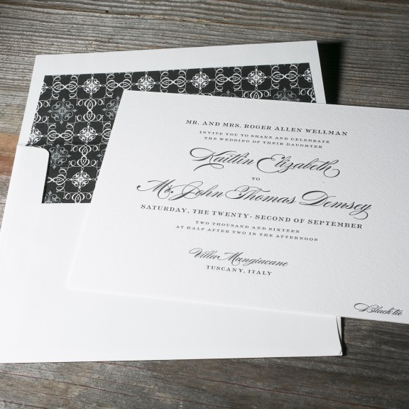 Deveril by Bella Figura, classic wedding invitation, black and white color palette with traditional fonts, ornate patterned envelope liner