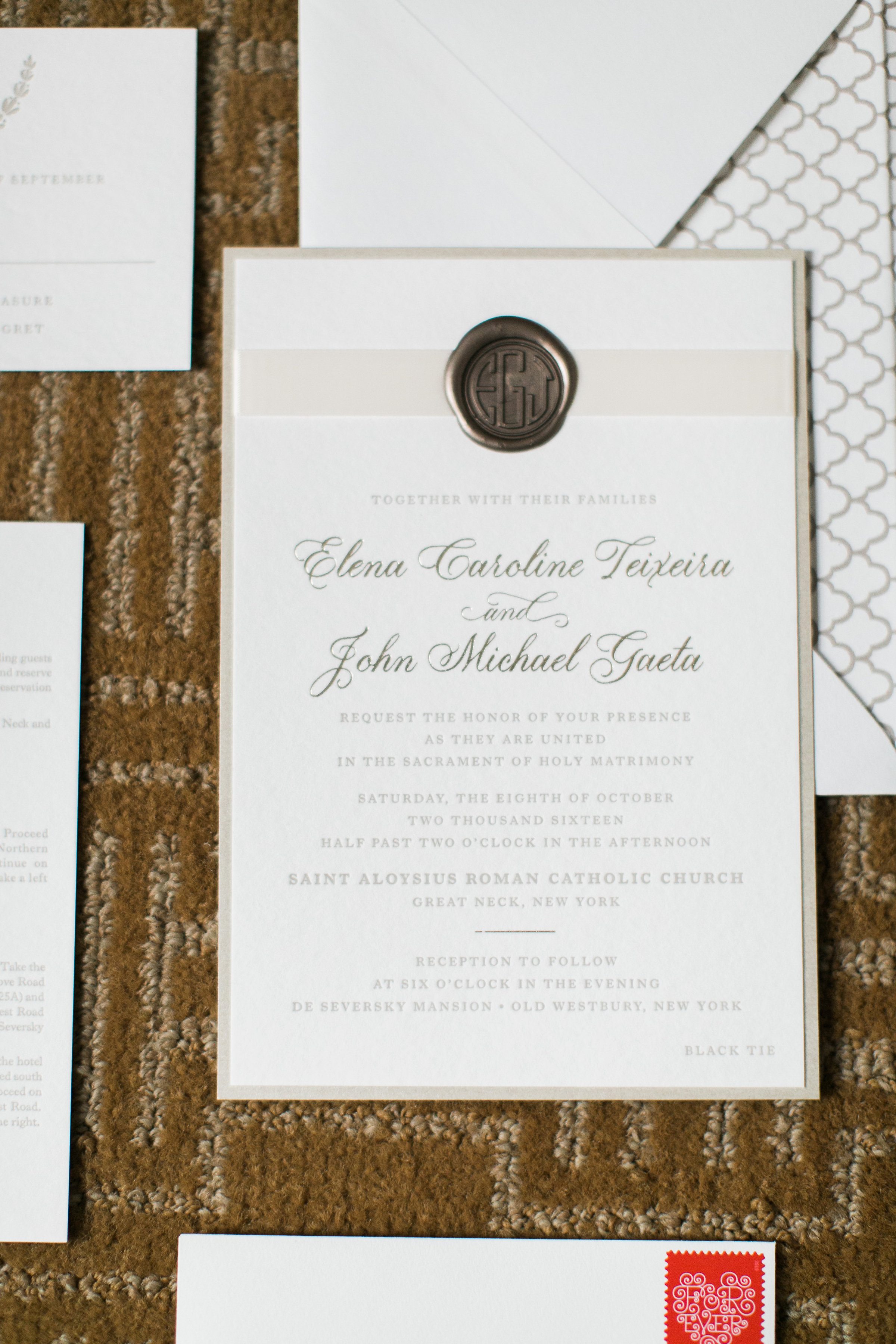 Elena + John Letterpress Wedding Invitation with Ribbon and Wax Seal, Foil details, traditional design in taupe and gold color palette