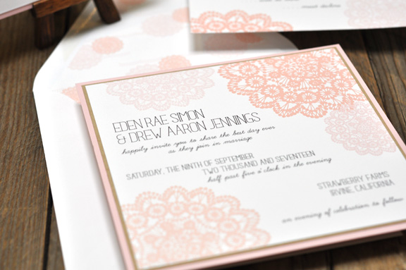 Eden by BTElements, Whimsical lace wedding invitation with hand drawn style fonts, pink white and kraft paper color palette