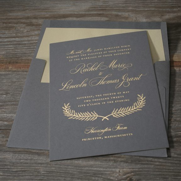Estate by Bella Figura, gold foil on charcoal paper, wedding invitation with laurel, traditional fonts, script, cursive, classic, gray paper, gray envelope with gold liner