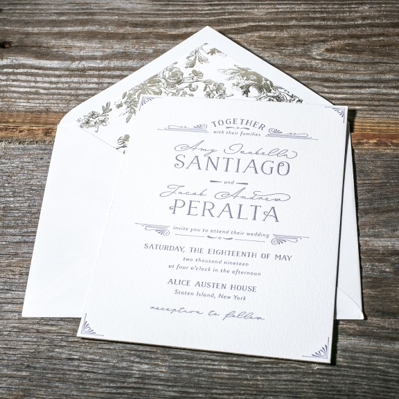 Gardenia by Bella Figura, Formal deco letterpress invitation