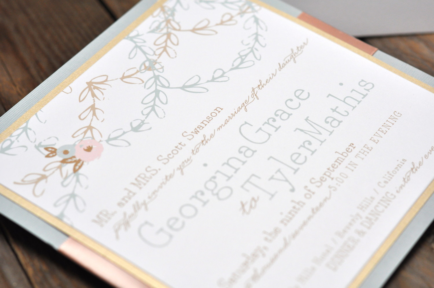 Georgina by BTElements, Pastel invitation with floral details, layered paper and ribbon, Whimsical typesetting, slate blue, pink, gold and white color palette