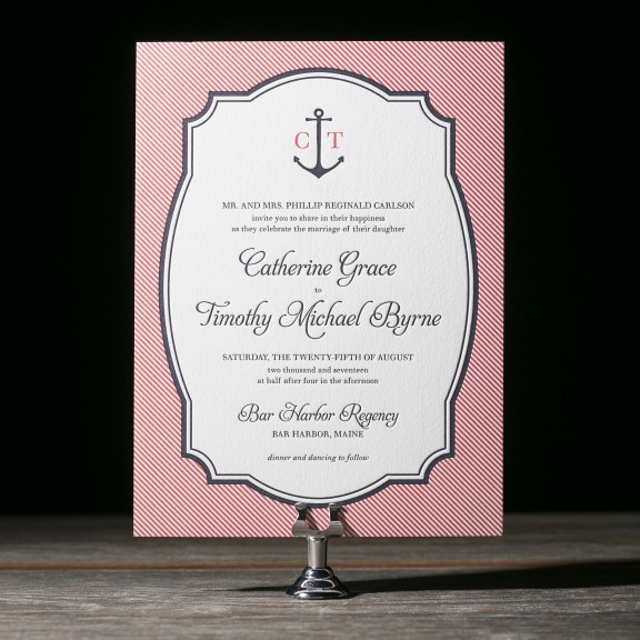 Harbor Beach by Bella Figura, Whimsical nautical invitation, letterpress