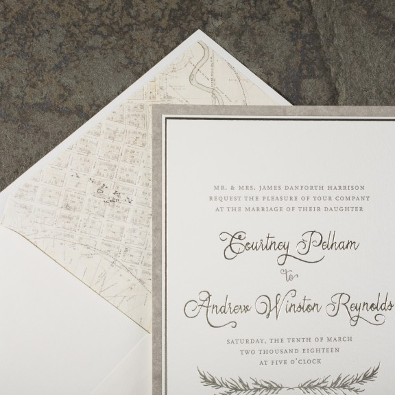 Haynes by Smock, rustic invitation with map envelope liner