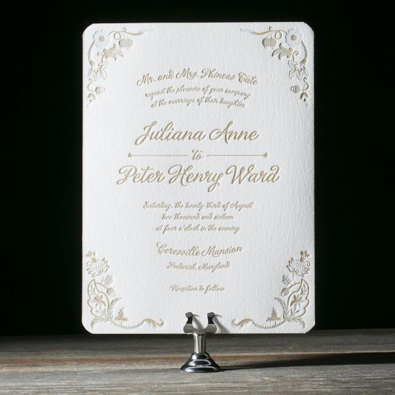 Indian Summer by Bella Figura, floral letterpress invitation, gingham envelope liner