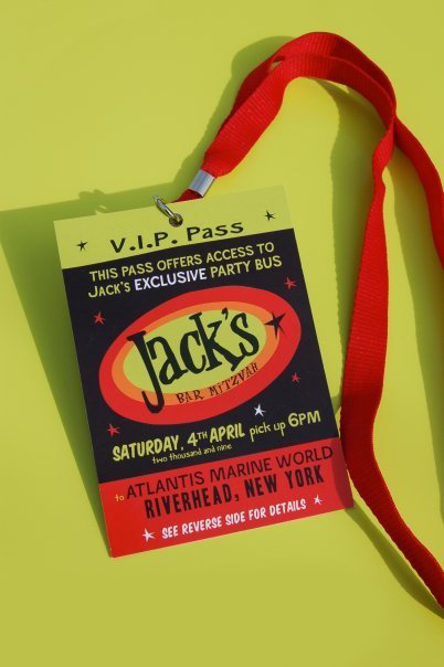 Jack's Bar Mitzvah, VIP Pass invitation