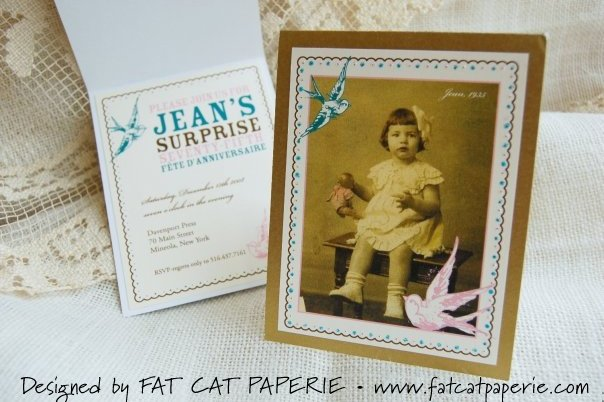Jean's Surprise Party by Fat Cat Paperie, Vintage photograph invitation with decorative frame and bird illustration