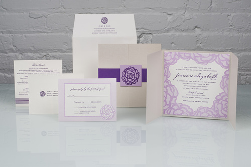 Jeanine by Spark, floral pocket mitzvah invitation