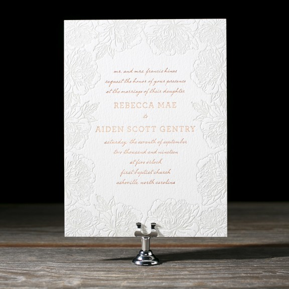 Jorie by Bella Figura, floral border letterpress invitation