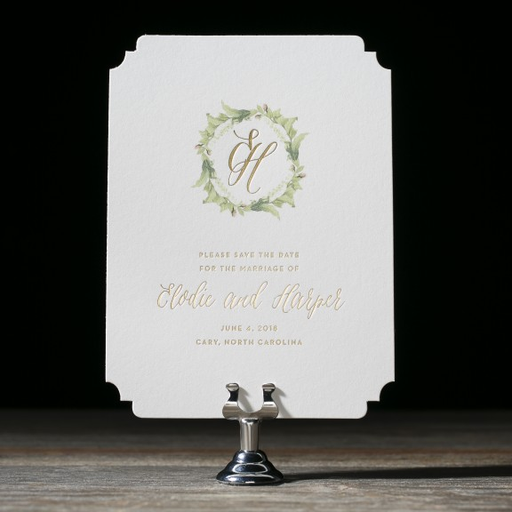 Josephine by Bella Figura, save the date, laurel wreath monogram, gold foil text and greenery details