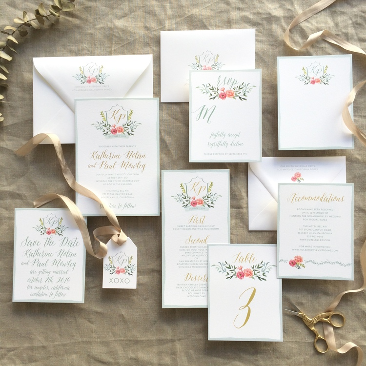 Katherine by BTElements, Colorful floral wedding invitation suite with gold foil details, monogram with flowers and leaves, whimsical calligraphy style font, blue border, red orange blue green and gold color palette