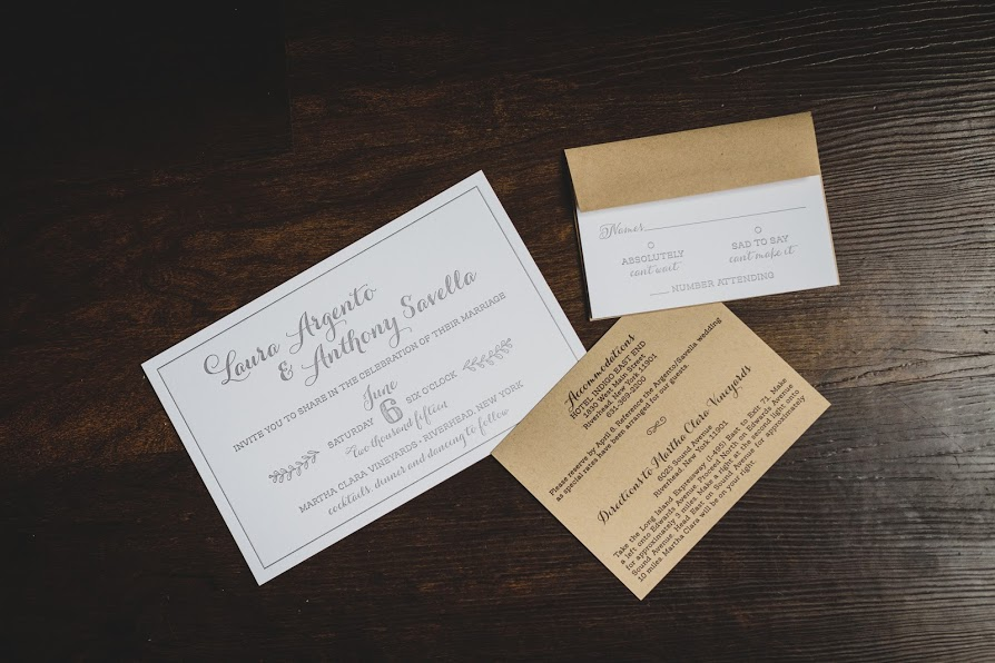 Laura+Anthony by Fat Cat Paperie, Custom rustic wedding invitation wrapped with twine and a monogram tag, Leafy illustrated details, Whimsical fonts, Taupe white and kraft paper color palette, designed for a winery wedding at Martha Clara Vineyard