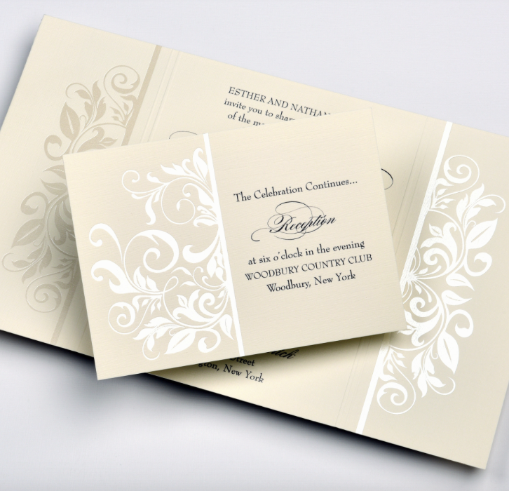 Lemontree-Adriana, Traditional Thermography invitation with scroll pattern