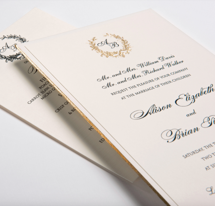 Lemontree-Alison, Classic invitation with gold edging