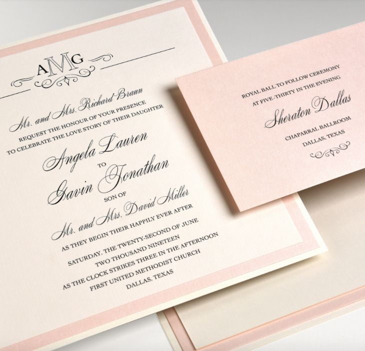 Angela by Lemontree, blush and pearlized layered paper wedding invitation, monogram with flourish detail, shimmer pearlized paper, formal script typesetting