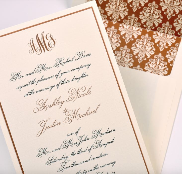 Lemontree_Ashley, copper monogram invitation with patterned liner