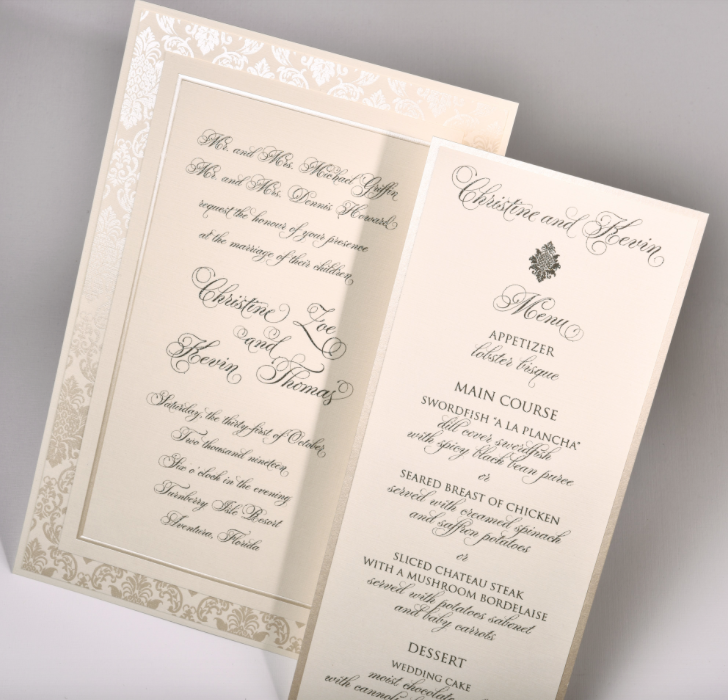 Lemontree_Christine, pearlized damask invitation