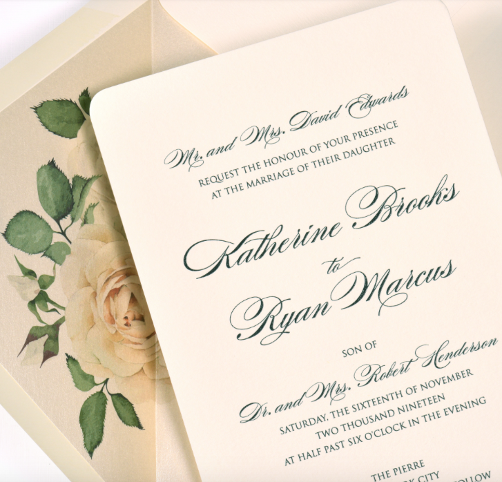 Lemon tree stationers - Katherine, Thermography invitation with white rose envelope liner