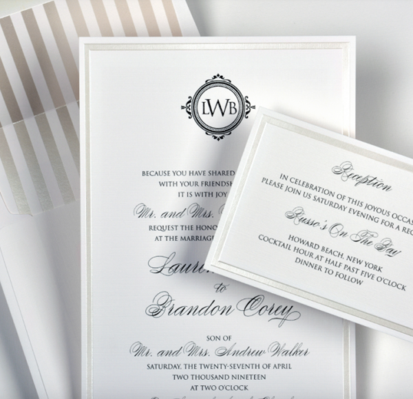 Lemontree_Lauren, classic invitation with striped liner