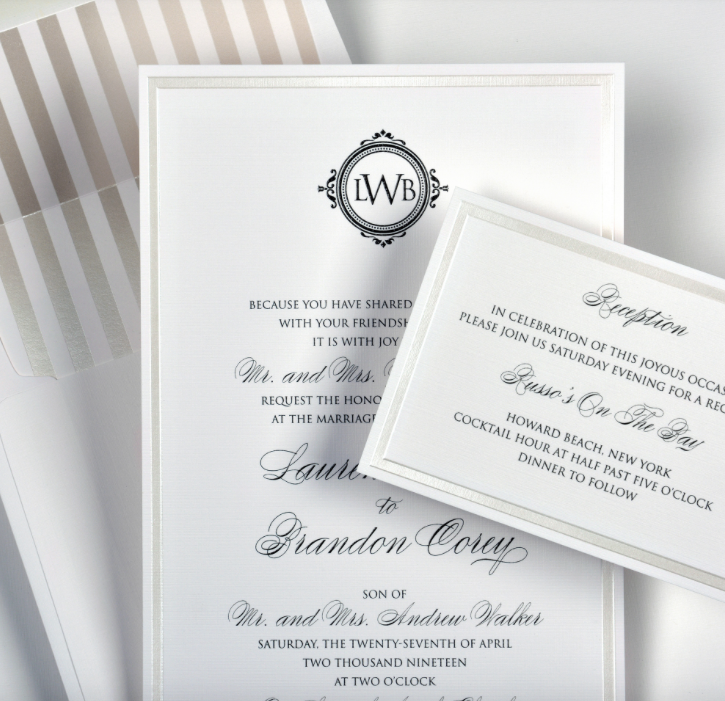 Lauren by Lemontree, white and gray pearlized monogram invitation, foil stripe envelope liner, black thermography, formal typesetting, layered invitation with shimmer and matte ivory and white paper