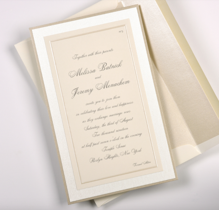 Lemontree_Melissa, pearlized border wedding invitation