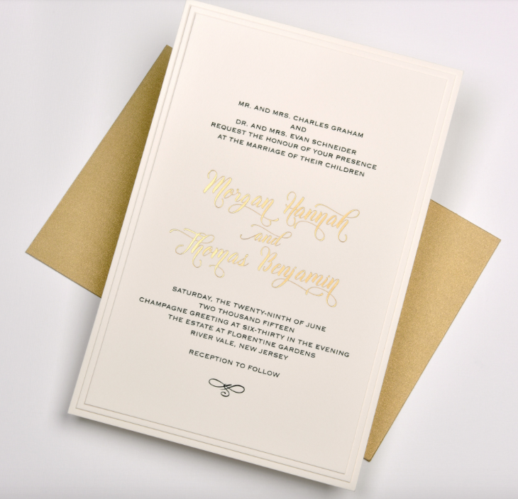 Lemontree_Morgan, black and gold foil invitation
