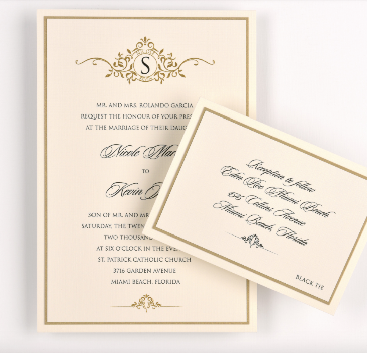 Nicole by Lemontree , decorative monogram invitation, black and gold thermography design, frame, border with flourish, layered with gold and ivory paper