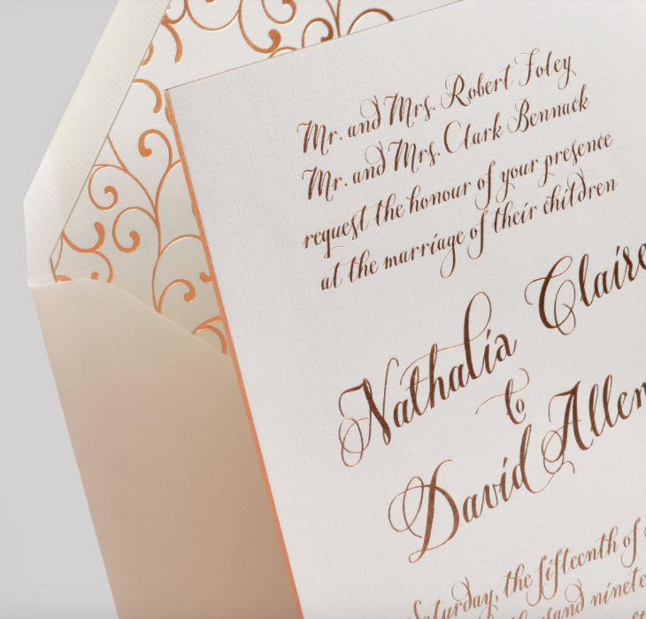 """Nathalia"" by Lemon Tree, rose gold, copper wedding invitation, thick paper with foil edging, calligraphy style font with flourished envelope liner"