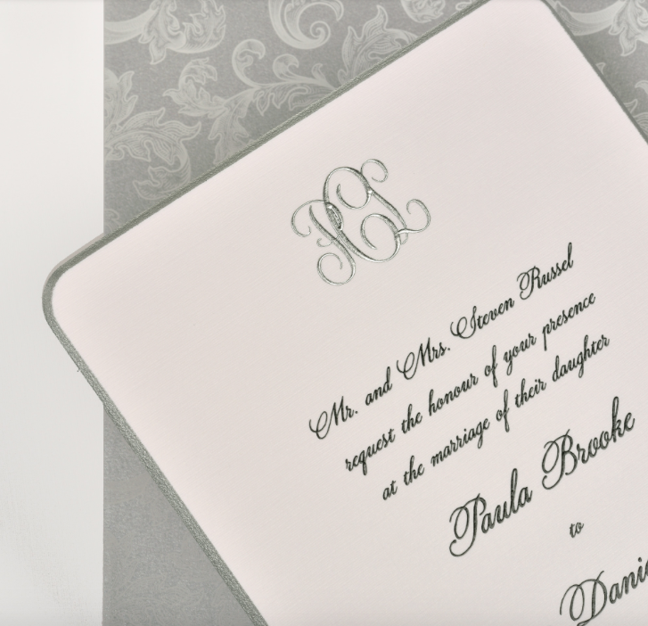 Lemontree_Paula, black and silver monogram invitation