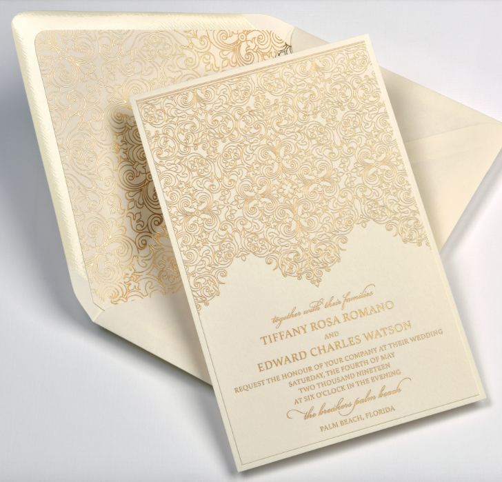 Tiffany by Lemontree, foil wedding invitation with ornate pattern