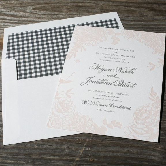 Lush Garden by Bella Figura, floral letterpress invitation with gingham envelope liner