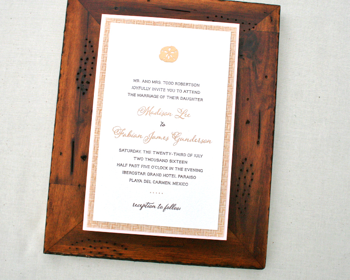 Madison+Fabian, Wedding Invitation, Blush and Cane Paper, Beach Theme, Gold Details