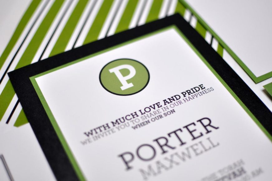 Porter by B.T.Elements, layered mitzvah invitation