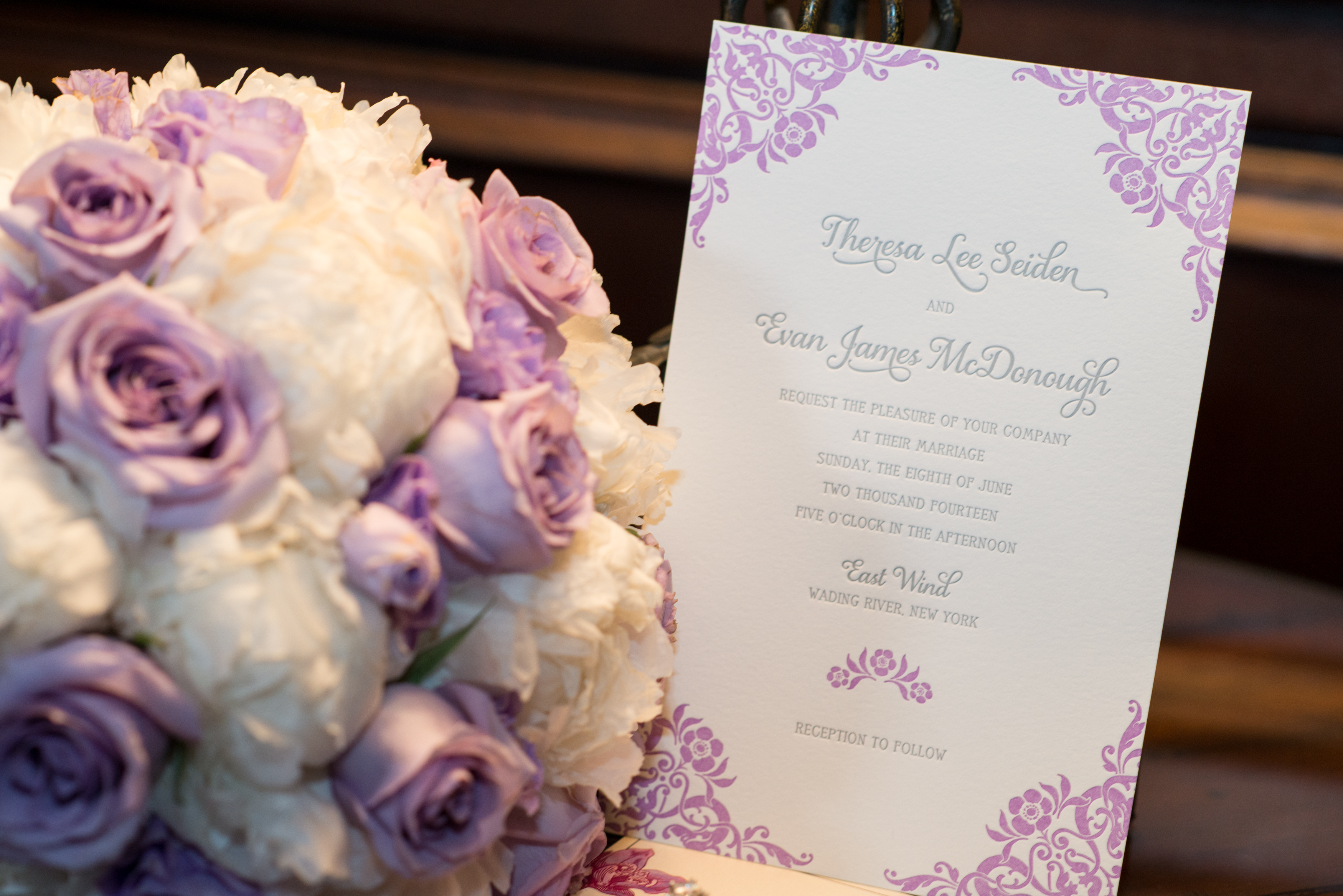 """Promise"" in Lavender by Designer's Fine Promise, Lavender and Gray Letterpress Invitation with Floral Corner Details on Soft White Cotton Paper"