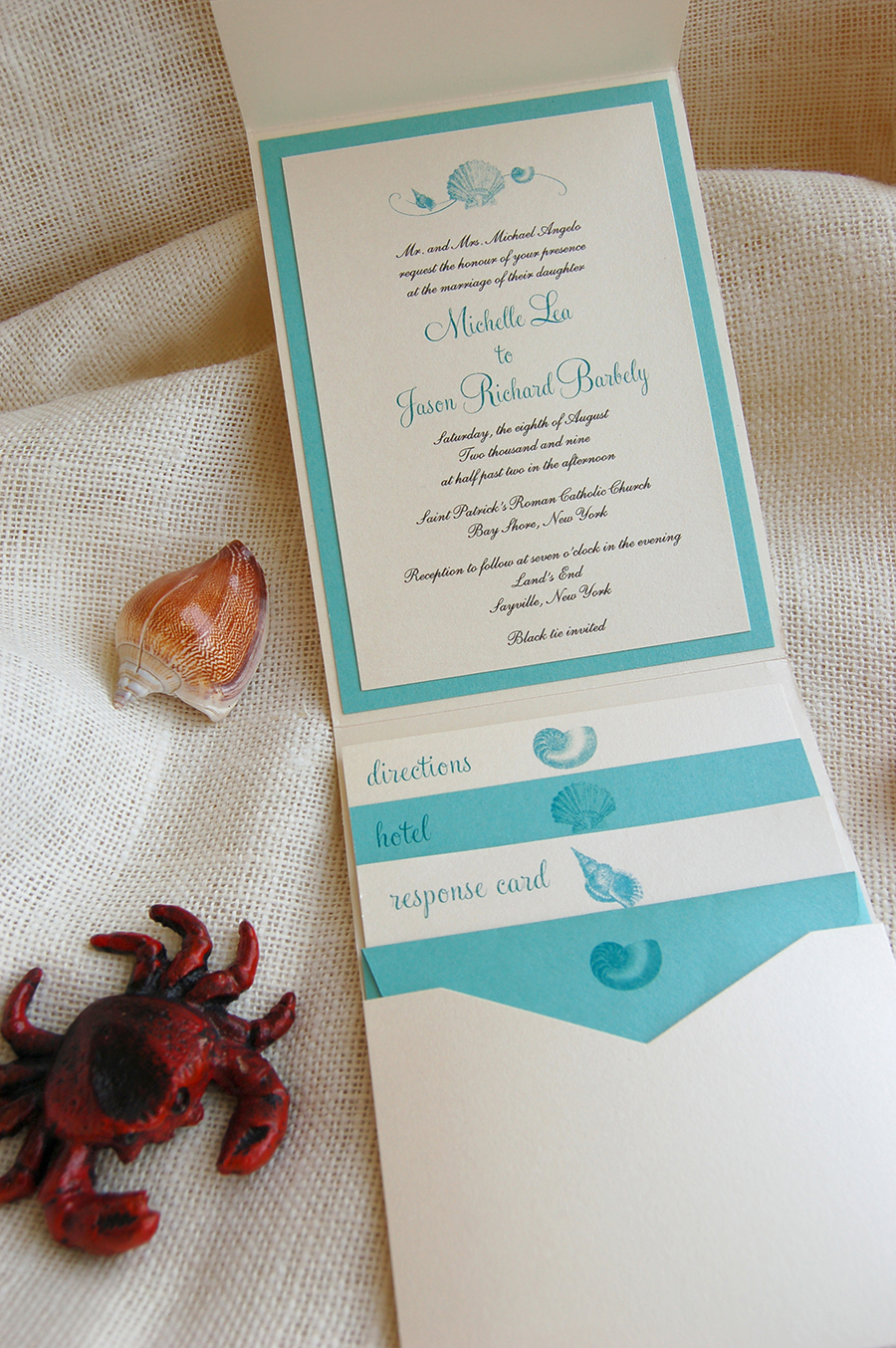 Shell Wave by Fat Cat Paperie, Beach theme pocket wedding invitation, teal and ivory color palette, script fonts, various shell beach motifs